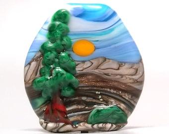 Tree Of Life - Artisan Handmade Lampwork Glass Focal Sun Bead - SRA