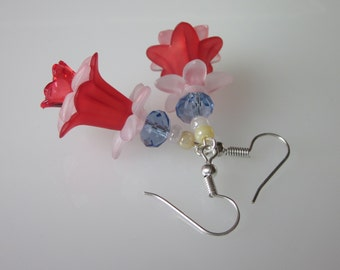 Lucite Flower Earrings, Flower Jewelry, Red White & Blue, Military Wedding, Lucite Jewelry
