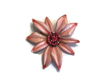 Pink Day Lily Flower Brooch, Vintage 1960s Enamel Flower Pin, Mod Flower Power Jewelry, Costume Jewelry