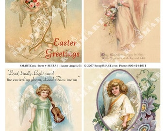 4 Easter Angels of grace and gladness are so special.  Digital Collage Sheet Download AESTA1