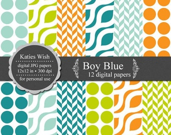 Instant Download Digital Paper Kit  Boy Blue Kit N009 for scrapbooking, invites, web design
