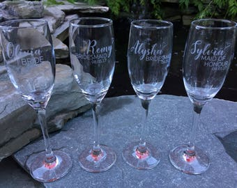 One (1) Single Etched Champagne Glass, Bridesmaid, Maid of Honor, Bridal Party, Weddings, Gifts