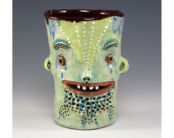 Jimmy - Two Faced Ceramic Tumbler by Jenny Mendes