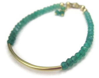 Shaded Green Gemstone Bracelet 14K Gold Filled Ombre May Birthday