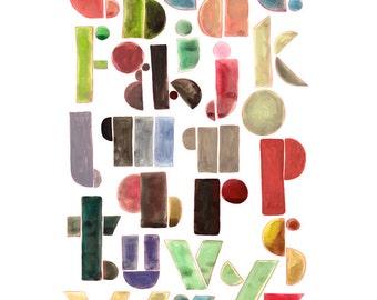 Alphabet print, colorful print home decor, kids room, office decor - design from Linoleum letterpress Art poster in black, kids wall art