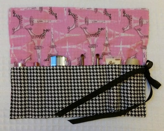 The Rollup Sewing Tools, Makeup Roll Organizer, FREE SHIP Pencil Roll Up, Pencil Organizer, Black Houndstooth, Paris, Eiffel Tower