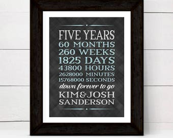 Years Months Weeks Days Hours | Personalized 5th anniversary gift for husband | 5 year anniversary gift for him | printable, print or canvas