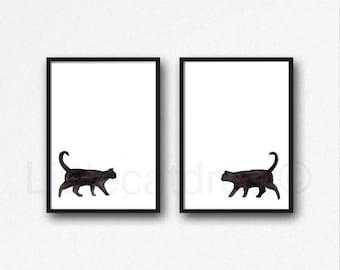 Black Cat Set of 2 Prints Walking Cats Watercolor Painting Art Print Cat Decor Black Cat Wall Art Cat Lover Gift Wall Decor Unframed