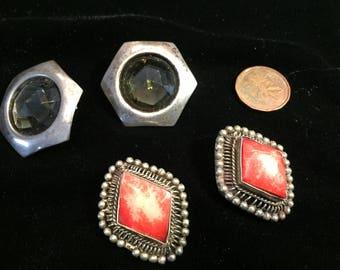 Earrings - Bohemian - Vintage - 1960s - clip-on - 2 pair  -  Item No. VE011