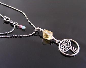 Tree of Life Necklace with Citrine, Citrine Necklace, Citrine Jewelry, November Birthstone, Tree Jewelry, Woodland Necklace, Boho, N1787