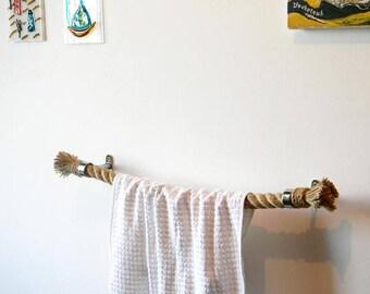 Rope Towel Holder.. Jute Rope..Nautical Decor Bathroom..Shabby Chic..Towel rack