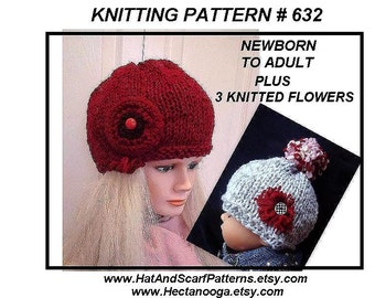 Hat Knitting Pattern  - RED CLOCHE, oversized beanie  -  (Newborn baby, Toddler, Child, Women  Adult sizes) #632, AND 3 knitted flowers