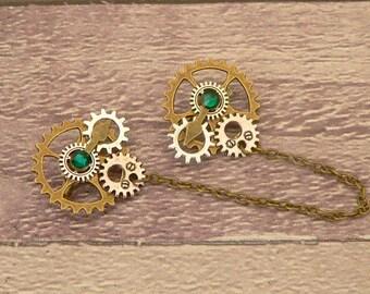 Green Steampunk Collar Pins, Sweater Pins, Steampunk Brooch, Collar Chain, Steampunk Jewellery, Lapel Pins, Collar Brooch