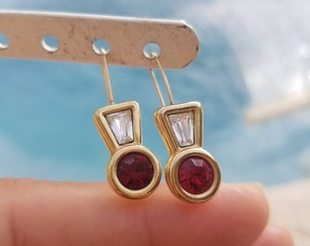 Stunning ~Rare~Vintage clear and red swarovski, Gold Plated, Authentic Swarovski drop dangle Earrings ~ Stamped