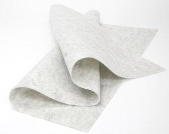"""Wool Felt Sheet - 100% Wool Felt in color HEATHER WHITE - 18"""" X 18"""" Wool Felt Sheet"""