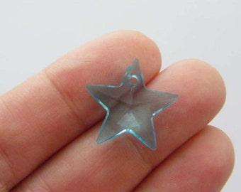 20 Star charms blue acrylic S152