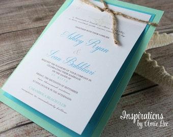 Rustic Beach Wedding Invitations, Beach wedding, Wedding Invitations