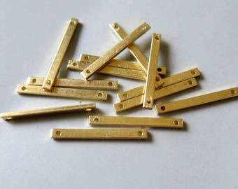 100pcs Raw Brass Rectangle Connectors With Two Hole,Stamping Tags Findings 20mm x 2mm - F471
