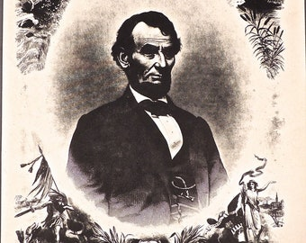 ANTIQUE ABRAHAM LINCOLN 1865 to 1870 Collotype/ Printing/Engraving/J.C. Buttre