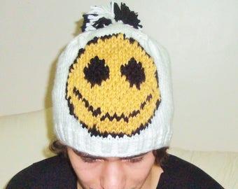 Mens Hats beanie Hat beret Hat Winter Men Hat knit WHITE winter Beanie Men Hat Happy Smiley Face Hat Hand knit Hat Hand Knitted Hat