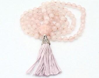 Necklace-Mala-light pink-rose quartz beads-tassel necklace-108 beads-Buddha Pearl