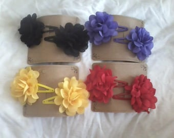 """2"""" Chiffon Flowers on Snap Clips"""