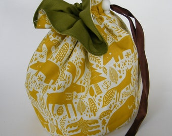 Forest Animal Project Bag. Small Drawstring bag ideal for knitting or crochet projects