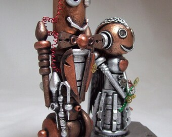 Steampunk Wedding Cake Topper Victorian Wood Robot Bride and Groom