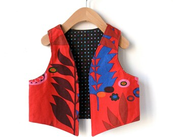 Childs Vest Size 3T/4T - Reversible in Woodland Print