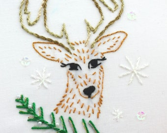Winter Embroidery Design Hand Embroidery Design Snowflake Embroidery Winter theme
