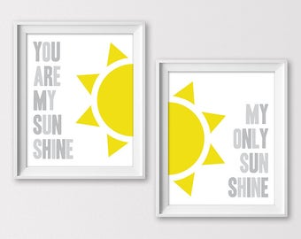 You Are My Sunshine Print, Baby Shower Gift, Nursery Wall Art, Gender Neutral Nursery, Kid Room Art, New Baby Gift, Instant Download
