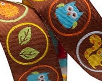 Ribbon braid owls Brown squirrel 22 mm by 50 cm