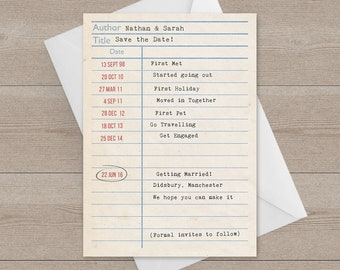 Library Card / Borrowers Card Save the Dates // Literary Wedding Stationery // Library |Wedding Invites