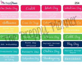 PLANNER STICKERS Holiday's for ALL Planner Types #254