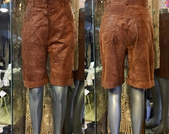 1980' Dino'z brown suede leather high waisted shorts. Size S.