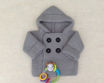 Baby wool knit coat hooded coat
