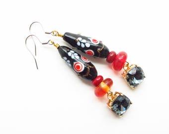 Lampwork Earrings - Dangle Earrings - Fancy Earrings - Floral Earrings - Swarovski Crystal - Sterling Silver - Red Earrings - Long Earrings