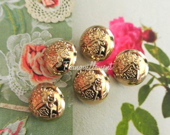 5 Small Retro Vintage Style Matte Gold Golden Military Style Jacket Coat Sweater Metal Button 0.6 Inches / 1.5 cm