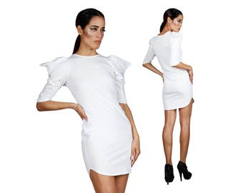 T-shirt Dress in White, Loose Dress, Minimalist, Short Loose Dress, Casual Summer Dress, Comfy Cotton Dress, Athleisure Clothing, LENA QUIST