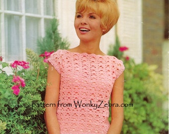 Vintage Crochet TOP Pattern PDF 713 from WonkyZebra