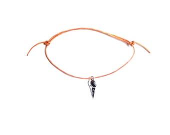 silver ice cream charm on waxed cotton cord adjustable friendship bracelet