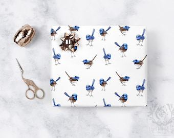 Wrapping Paper Blue Wrens Scattered on White. Per Roll. High Quality Satin Eco Friendly Printed Paper/ Made to Order/ Ships from USA Free