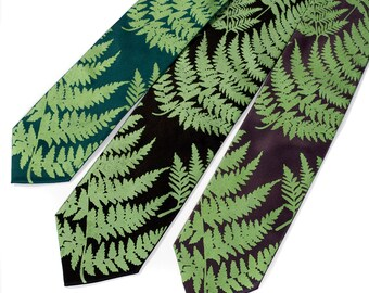 Fern necktie. Screenprinted botanical print men's tie. Dark chartreuse leaf print. Choose standard or narrow microfiber.