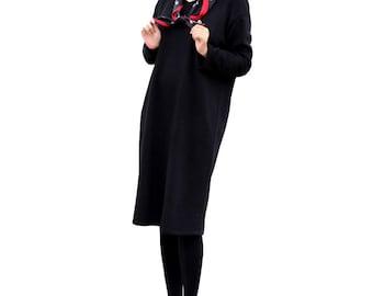 V neck thick knit dress