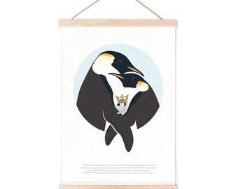 Poster - penguin story   children - nursery   50x70cm - 19,7 x 27,5 inches