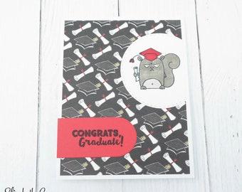 Graduation Congratulations Card, Graduation Card, Congratulations Card, Funny Graduation Card, Grumpy Squirrel, Handmade Greeting Cards