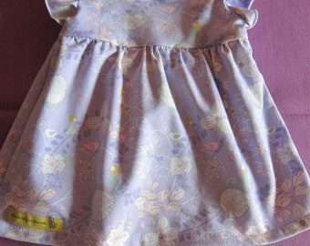 Girl's Spring lilac jersey dress  with fairies and flowers,  US size 1T, girl's tunica