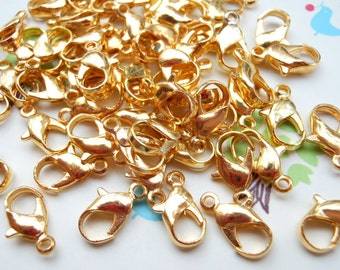 Sale-- 200pcs Gold  Plated Iron Lobster Claw Clasp Lobster Clasp 12mmX6mm