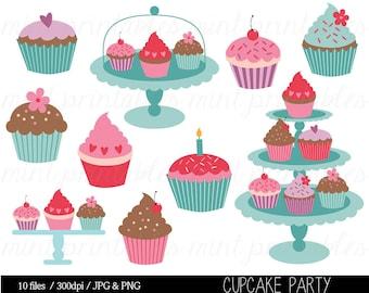 Cupcake Clipart, Cupcake Clip Art, Birthday Clipart, Birthday Clipart, Invitation, Cup Cake - Commercial & Personal - BUY 2 GET 1 FREE!