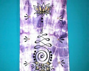 Tiedye Unalome lotus flower Wallhanging tapestry decor